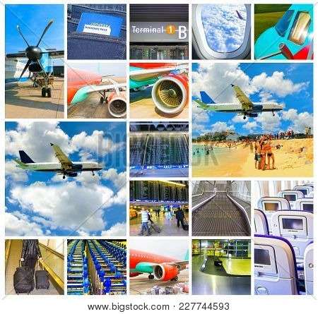 Collage About Airport And Airplane Photos. Travel, Aircraft, Tourism, Vacation, Trip Holiday Concept