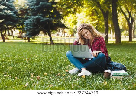 Desparate Handsome Young Woman Using A Laptop Outdoors. Student Is Disappointed And Raised Her Hand