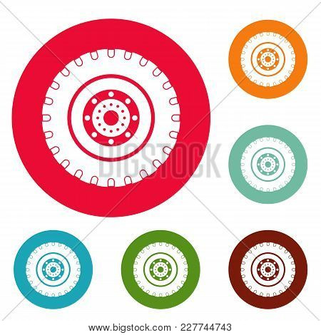 Tyre Icons Circle Set Vector Isolated On White Background