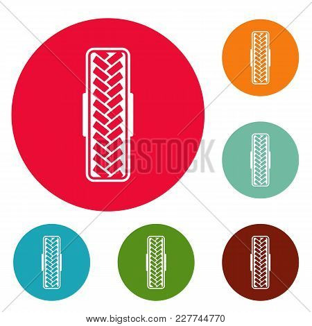 Tread Pattern Icons Circle Set Vector Isolated On White Background