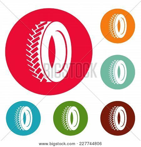 One Tyre Icons Circle Set Vector Isolated On White Background