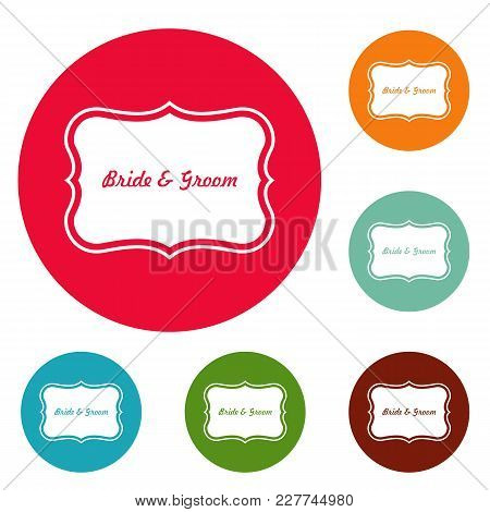 Just Married Label Icons Circle Set Vector Isolated On White Background