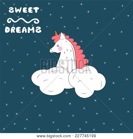 A Sleeping Unicorn In The Starry Sky. Vector Illustration