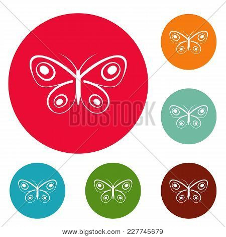 Tiny Butterfly Icons Circle Set Vector Isolated On White Background