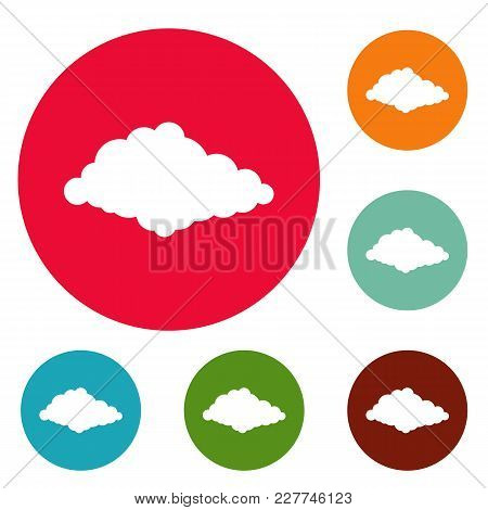 Cloudiness Icons Circle Set Vector Isolated On White Background