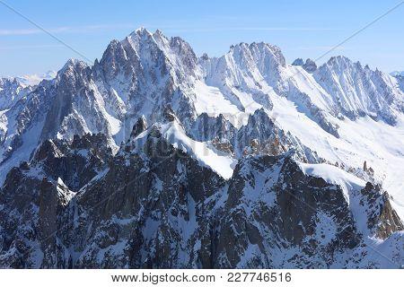 Aiguille Verte (chamonix Needles) And Les Droites In Mont Blanc Massif. Chamonix. France