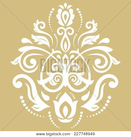 Oriental Golden And White Pattern With Arabesques And Floral Elements. Traditional Classic Ornament.