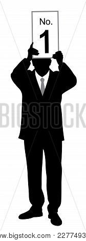 Businessman Holding Number One On Board. Isolated White Background. Eps File Available.