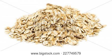 Heap Of Dry Rolled Oats Isolated On White Background.
