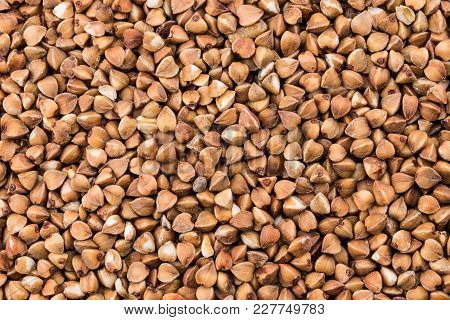 Texture Buckwheat Groats Close-up. Pile Of Buckwheat Groats, Top View.