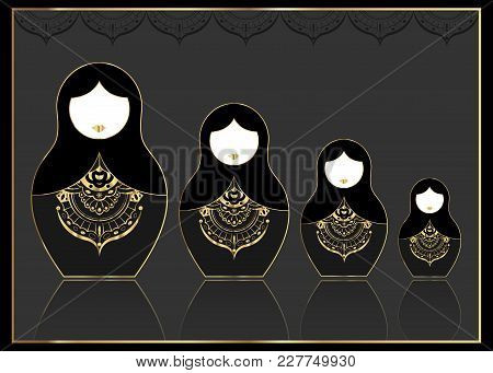 Matryoshka Gold Set Icon Luxury Russian Nesting Doll With Golden Ornament, Vector Illustration, Isol