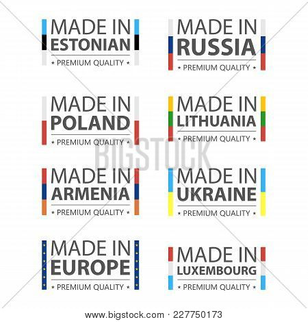 Simple Vector Logos Made In Estonian, Russia, Polish, Lithuania, Armenia, Ukraine, Luxembourg And Ma