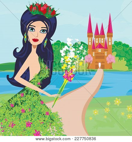 Beautiful Floral Fairy And Castle , Vector Illustration