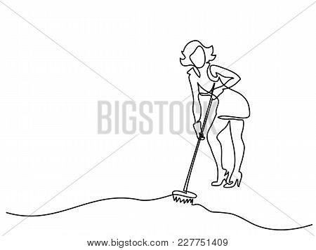Continuous Line Drawing. Young Woman Washes Floor With Mop. Vector Illustration