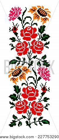 Color  Bouquet Of Flowers (roses, Cloves And Sunflowers) Using Traditional Ukrainian Embroidery Elem