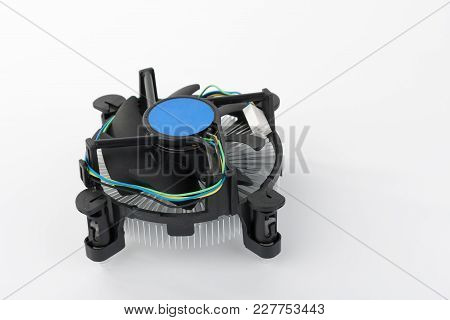 New Modern Fan For Pc  Processor On White Background.