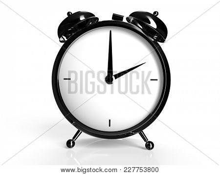 Alarm clock on white background. 2 O'Clock, am or pm. 3D rendering