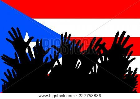 Hands up silhouettes on a Puerto Rico flag. Crowd of fans of soccer, games, cheerful people at a party. Banner, card, poster.