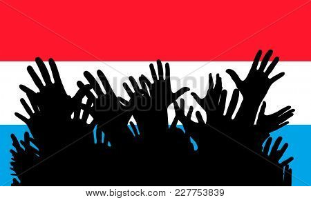 Hands up silhouettes on a Luxembourg flag. Crowd of fans of soccer, games, cheerful people at a party. Banner, card, poster.