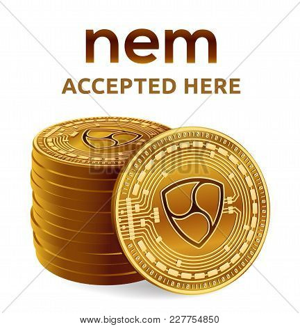 Ripple. Accepted Sign Emblem. Crypto Currency. Stack Of Golden Coins With Ripple Symbol Isolated On