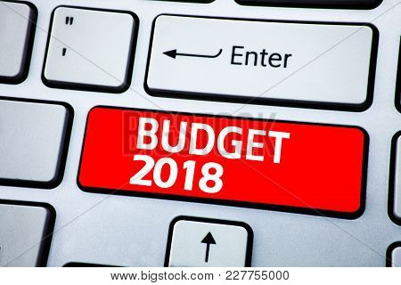 Handwriting Announcement Text Showing Budget 2018. Business Concept For Budget 2018 Written On Stick