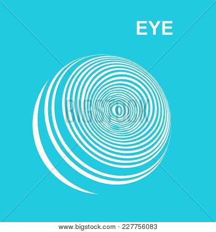 Abstract Of Striped Eye. Logo. Blue And White Tones.