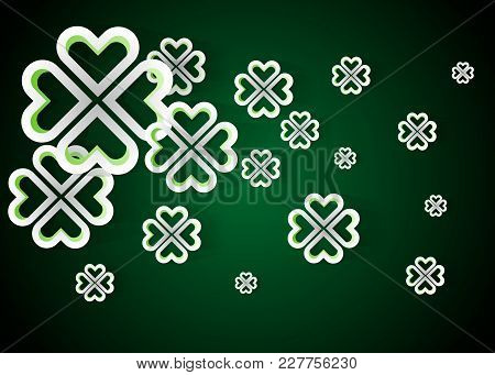 Green Background With Four Leaf Clovers, St. Patrick S Day Background Vector Illustration 10eps