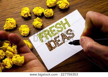 Word, Writing Fresh Ideas. Concept For Thinking Inspiration Inspire Creativity Written On Notebook N