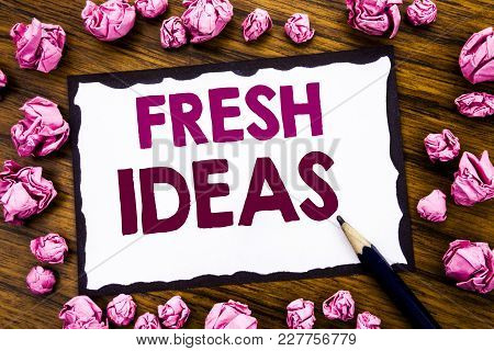 Hand Writing Text Caption Inspiration Showing Fresh Ideas. Business Concept For Thinking Inspiration