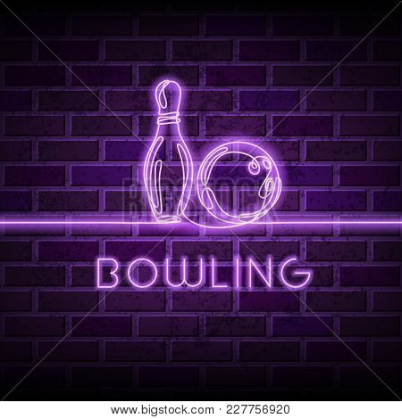 Neon Bowling Vector Illustration. Glowing Continuous Line Drawing Of Bowling Ball, Pin On Purple Bri