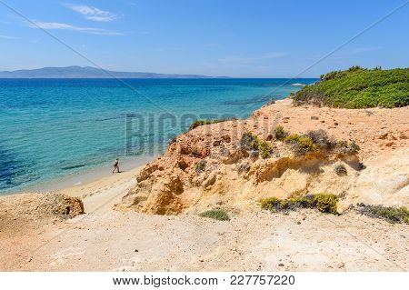 Naxos, Greece - May 24, 2017: Aliko Beach, One Of The Best Beaches On The South Western Side Of Naxo