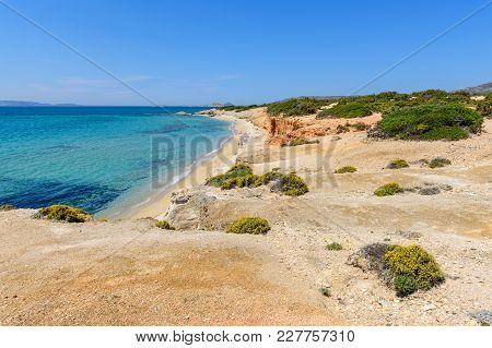 Aliko Beach, One Of The Best Beaches On The South Western Side Of Naxos Island. Aliko Is Lovely Plac