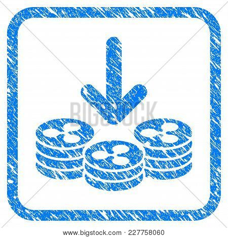 Ripple Coins Income Rubber Seal Stamp Watermark. Icon Vector Symbol With Grunge Design And Dust Text