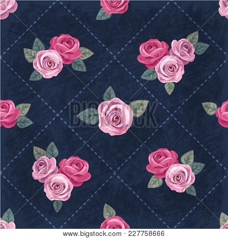 Seamless Vintage Romantic Pattern With Pink Roses On Dark Blue Shabby Background. Retro Style. Shabb