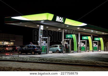 Ostrava, Czech Republic - January 16, 2018: Mol Gas Station During Night In Ostrava, Czech Republic.