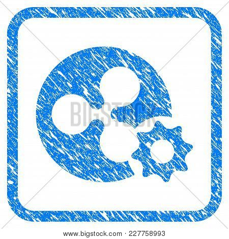 Ripple Coin Options Gear Rubber Seal Stamp Imitation. Icon Vector Symbol With Grunge Design And Corr