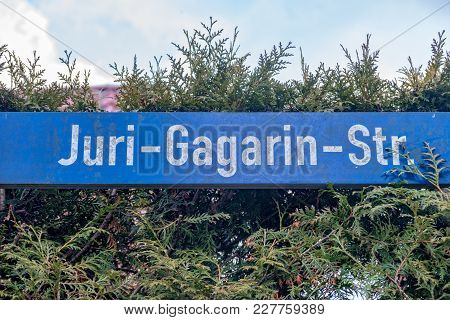 The Road Sign From The Juri Gagarin Street In Jena