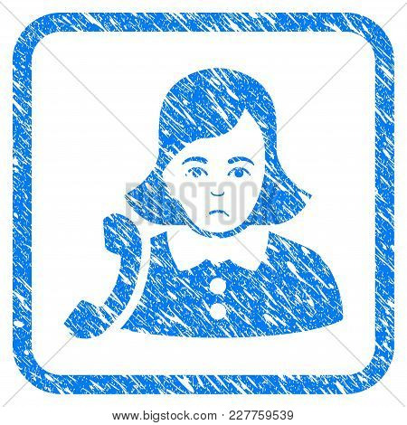 Receptionist Woman Rubber Seal Stamp Watermark. Icon Vector Symbol With Grunge Design And Dirty Text