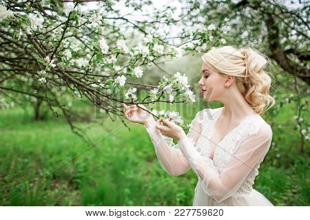 Portrait Of A Young Girl, The Bride In The Apple Orchard. Young Beautiful Blonde Woman In Blooming G