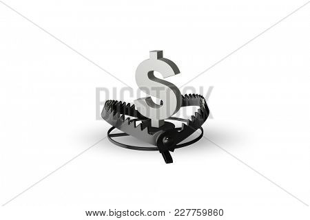 Mouse trap and dollar in business concept - 3d rendering