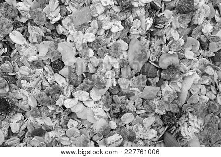 Background Of Muesli - Cereal With Seeds, Fruit And Nuts