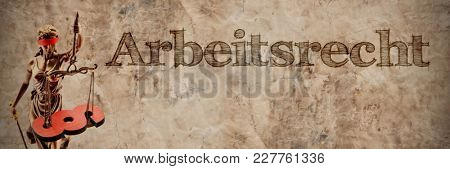 Blind Justitia and section sign with German word