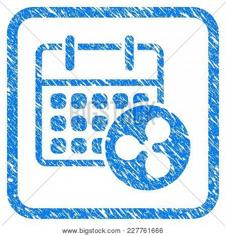 Ripple Calendar Rubber Seal Stamp Watermark. Icon Vector Symbol With Grunge Design And Dust Texture