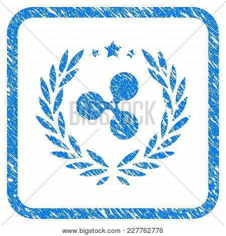 Ripple Laurel Wreath Rubber Seal Stamp Watermark. Icon Vector Symbol With Grunge Design And Dirty Te