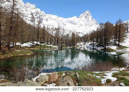 Lago Blu (blue Lake) With Matterhorn Summit In Breuil-cervinia. Valtournenche. Aosta Valley. Italy