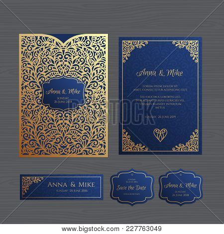 Wedding invitation vector photo free trial bigstock wedding invitation or greeting card with vintage ornament paper lace envelope template wedding invitation envelope mock up for laser cutting vector stopboris Gallery