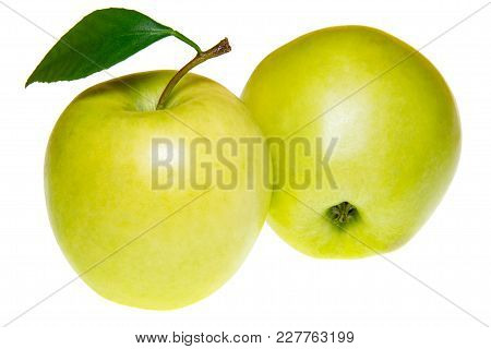 Green Apples With Leaf Isolated On White.