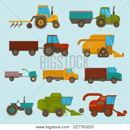 Set Of Different Types Of Agricultural Vehicles And Harvester Machine, Combines And Excavators. Icon