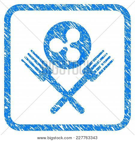 Ripple Forks Rubber Seal Stamp Watermark. Icon Vector Symbol With Grunge Design And Corrosion Textur