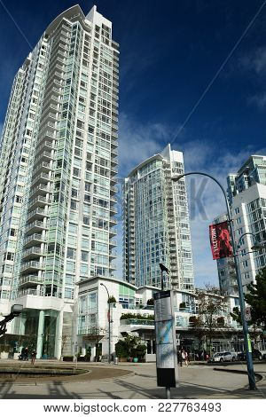 Vancouver BC,Canada,February 18th 2018.High end luxury condominiums in the Yaletown district of Vanc